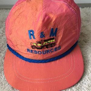 Vintage r & m resources hat cap nylon , leather
